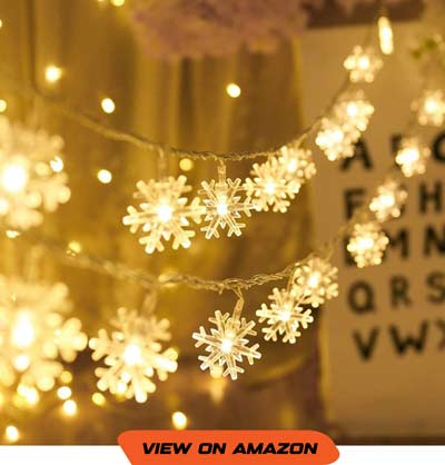 Battery Operated Snowflake Christmas String Lights
